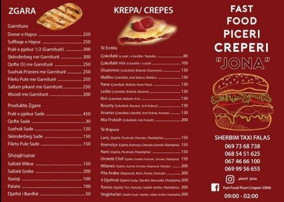 Fast Food Piceri Kreperi Jona- Sherbim Taxi