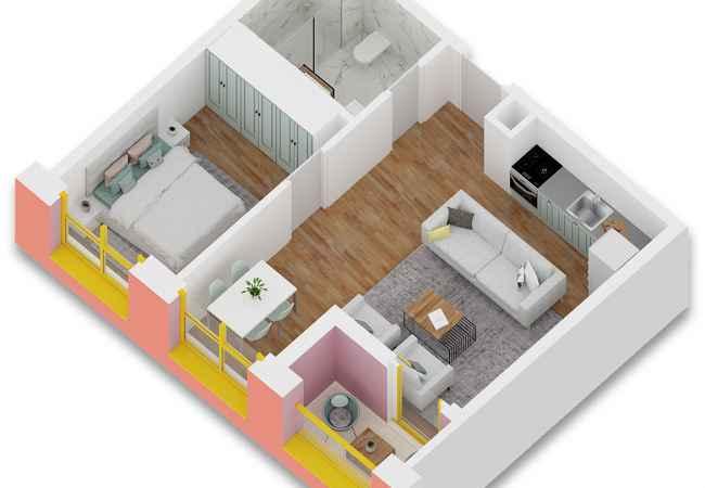 id:153956 - Shitet Apartament 1+1 ne Ali Dem, 61 m2- 45.000 Euro