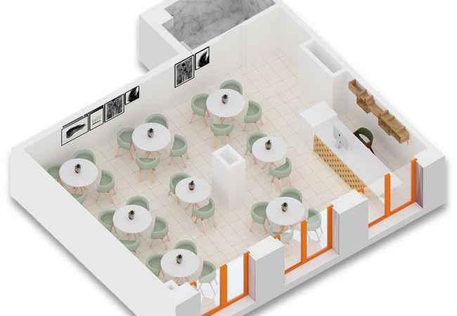 Shitet ambient biznesi ne kompleksin Mangalem 21, Ali Demi Njësi shërbimi, me sipërfaqe 74.0 m2. Çarjet e mëdha, forma në plan e past